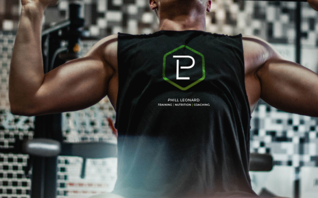 Phill Leonard Personal Trainer, Warrington, branded logo t-shirt